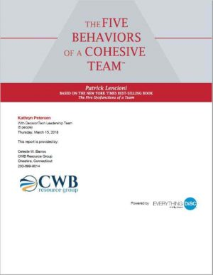 Five Behaviors of a Cohesive Team - CWB Resource Group